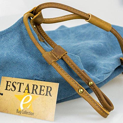 Estarer Borsa a tracolla Messneger di tela da donna Grigio scuro Blu