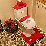 Ruikey Happy Santa Toilet Set Funda de asiento y alfombra y caja de tejido Caja de regalo Decoraciones de Navidad