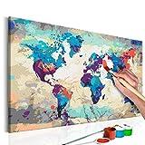 murando - Malen nach Zahlen Weltkarte 60x40cm Malset DIY n-A-0231-d-a