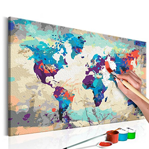 murando - Malen nach Zahlen 2.0 – Bilder Weltkarte 60x40 cm – Malset mit Holzspannrahmen - DIY -...