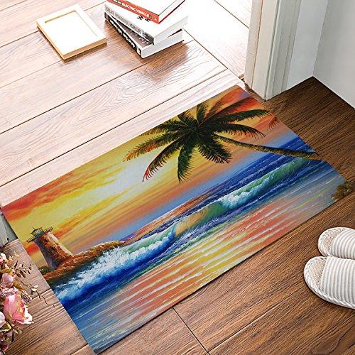 Libaoge Palme Ocean Tropische Küste Strand Meer Fußmatte Welcome Mat Eingangsmatte Fußmatte Fußmatte Fußmatte Badematte, Textil, Color 6, 20x31.5 (Küsten-badematte)