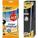 Bic - Pack 27 bolígrafos de punta redonda de colores surtidos + 12 unidades lápiz de grafito Bic Evolution
