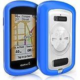 TUSITA Cas pour Garmin Edge GPS Explorer - Housse de Protection en Silicone Peau - écran Tactile Touring Bike Computer Accessoires (Bleu)