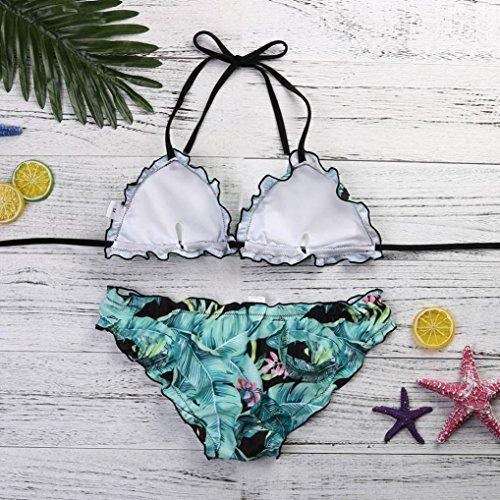 Longra Set di due pezzi di Bikini con stampa di pizzo ondulato di materiale superiore in poliestere da donna Azzurro