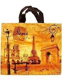 Souvenirs de France - Grand Cabas Paris 'Carte Postale' - Ocre