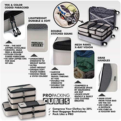 PRO Packing Cubes | 6 Piece Travel Packing Cube Value Set | 30% Space Saver Bags | Ultra Lightweight | Great for Duffel Bags, Carry on Luggage, and Backpacks (Silver Grey)