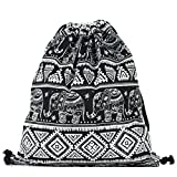 Samgoo Sac de sport en toile, sac de gym, sac à dos sac hipster pour voyager ou faire du sport, ZYY-BAG, Noir , taille unique