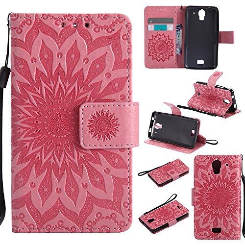 Für Huawei Y360 Fall, Prägen Sonnenblume Magnetische Muster Premium Soft PU Leder Brieftasche Stand Case Cover mit Lanyard & Halter & Card Slots ( Color : Purple ) Pink