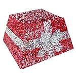 """Christmas Concepts® 10.5""""Gonna base albero di Natale di lusso con nastro e luci a LED - vari colori - decorazioni albero di Natale (rosso/argento)"""