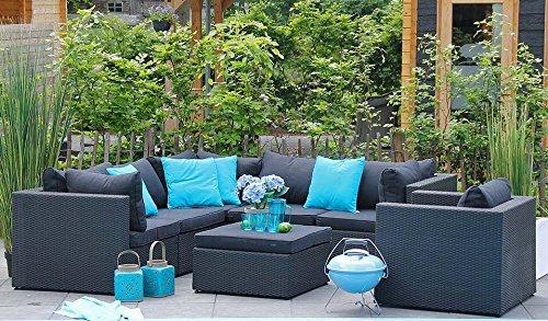Au jardin de chloé - Salon canapé de jardin modulable avec table/pouf résine tressée Design - QUERENE - Noir - 6 places