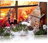 weihnachtlich dekoriertes Fensterbrett, Format: 120x80 auf Leinwand, XXL riesige Bilder fertig gerahmt mit Keilrahmen, Kunstdruck auf Wandbild mit Rahmen, günstiger als Gemälde oder Ölbild, kein Poster oder Plakat