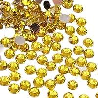 TOOGOO(R) 1000pcs 4mm 14 Cut Flat Back Rhinestone Round Brilliant Loose Beads - Yellow