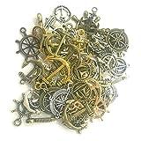 sseell 100g Misto Ciondoli Charm ancora bronzo dorato timone argento fabbricazione di gioielli DIY
