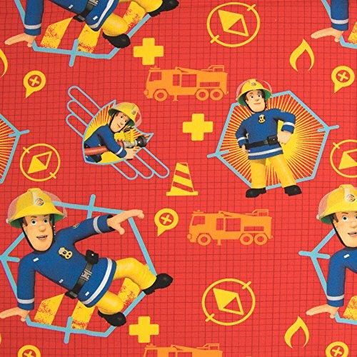 feuerwehrmann sam meterware Stoffe Werning Baumwollstoff Lizenzstoff Feuerwehrmann Sam Rot Kinderstoffe TV Serie Öko-Tex - Preis Gilt für 0,5 Meter