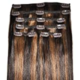 FULL HEAD, Real Clip-in Hair Extensions - 100% Remy, Triple Weft, Thick Human Hair, (16 inch, 120g, #2/6 Dark Brown, Brunette Balayage)