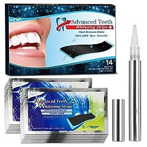 Wotek Zahnaufhellung Weiße Zähne Bleaching Gel Bleaching White Stripes Zähne Aufhellen Kit 28 Stück für Zähne Weiße Streifen Zahnweiss Kit Zahnweiß-Streifen Teeth Whitening+Zahnaufhellung steift