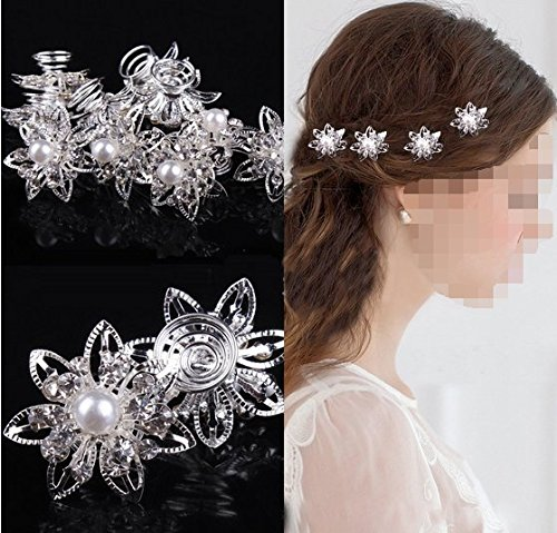 Musuntas 6er Set wunderschöne Sterne Blumen Haarspiralen Haarnadeln aus , Perle, Strass, Braut Hochzeit Perle Strass Haarschmuck Haarspiralen ...