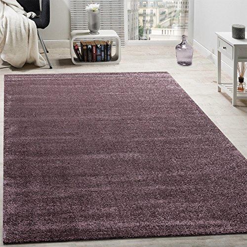 Designer Teppich Frieze Teppiche Luxuriös Schimmer Glanzeffekt Uni Pastell Lila, Grösse:60x110 cm (Frieze-teppich)