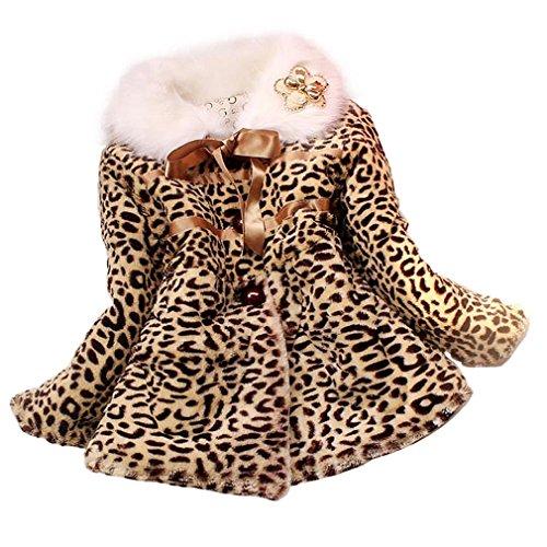 Tonsee Baby Mädchen Prinzessin Faux Pelz Leopard Kleidung Kind warme Jacke Snowsuit Winterbekleidung (2-3 Y)