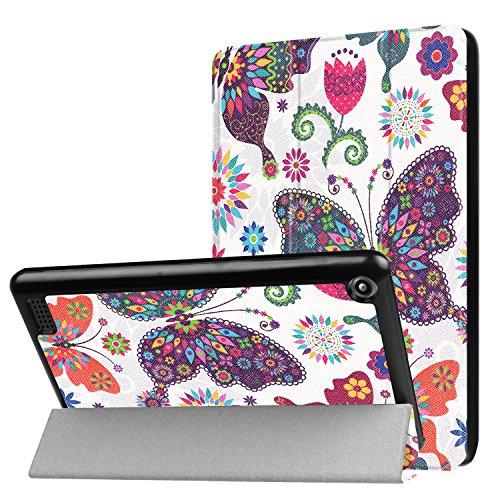 Tabletschutz für Amazon Kindle New Fire 7 2017 Ultra Slim Cover Hardcase aufstellbar und Wake & Sleep Funktion + GRATIS Stylus Touch Pen