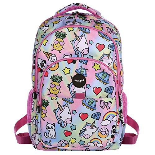 FRINGOO® Girls Boys Multi-compartment School Backpack Waterproof Fits Laptop 17'' (H:44cm*L:29cm*W:21cm, Holo Doodles)