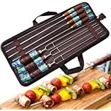 zoeson BBQ SKEWERS–PREMIUM Stainless Steel Wooden Handle–For shish Kebab, Turkish barbacoas & koub Ideh, Brazilian de Style BBQ–Set of 7+ 1x Funda Storage