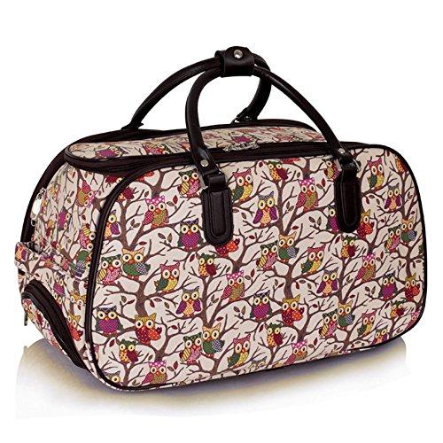 TrendStar Meine Damen Reisetaschen Holdall Frauen Handgepäcks Eule Print Wochenende Rolliges Laufwerk Handtasche Nude