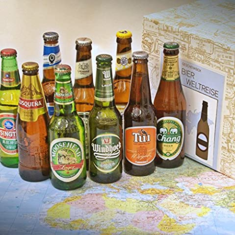 Premium Geschenk Box Bierweltreise verpackt im Präsentkarton + Geschenkidee für Weihnachten + ausgefallene Biere + Weihnachtsgeschenk für Männer + Geburtstag +