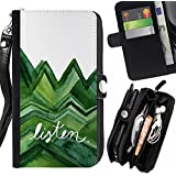 Momo Phone Case // Prämie Schwarz Flip Brief Tasche Klapp Leder Kartenhalter Schutz Hülle Case Cover für LG Stylus 2 / Stylo 2 / Listen Trees Green Watercolor Lizard White /