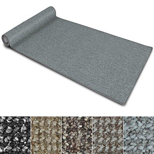 Teppich Läufer Carlton | Flachgewebe dezent gemustert | Teppichläufer in vielen Größen | als Küchenläufer, Flurläufer | mit Stufenmatten kombinierbar (Hellgrau - 66x200 cm)