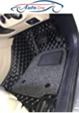 AutoZing 7D Car Floor Mats (Black) Complete Set for Tata Nexon