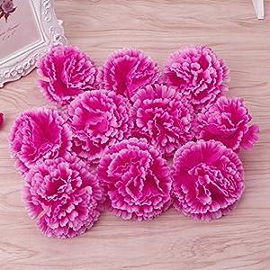Wiffe 10 cabezas artificiales de claveles para novia, dama de honor, decoración de bodas (morado profundo)