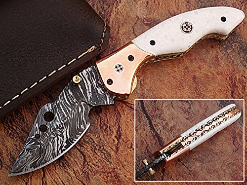 "CUSTOM MADE DAMASCUS STEEL 7.2"" FOLDING POCKET KNIFE WITH CANADIAN G 10 & SOLID COPPER BOLSTER WITH MOSAIC PIN HANDLE(BDM-13)"