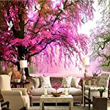 Leegt 3D-Magische Kirschbaum Rotwild Hintergrund Wand Kunst Moderne Romantische Schlafzimmer Wohnzimmer Video-Hintergrundbild 200cmX150cm