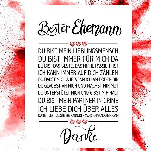 Close Up Bester Ehemann - Danke Zitate Poster - Deko Geschenk zum Hochzeitstag, Geburtstag, Weihnachten, jeden Tag - 30 x 40 cm, Premium Qualität