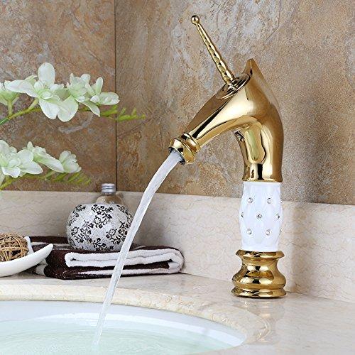 Homelody – Nostalgische Waschtisch-Einhebelarmatur, ohne Ablauf, Einhorndesign, Weiß-Gold-Diamant - 2
