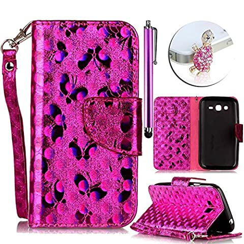 Samsung Galaxy Grand Plus / Grand Neo / Grand Lite GT-I9060I i9060 i9062 i9082 (5 pouces) Case, Vandot PU Coque Ultra Slim Flip Magnetic Cuir Etui Belle Papillon Design Housse Brillant Bling Glitter Laser Case Couverture pour Samsung Galaxy Grand Plus / Grand Neo Portefeuille PU Cuir avec Stand Case Leather Wallet Case Laser Cover +Strass Bling Bouchon Anti-poussière +Universal Stylet - Rose Rouge