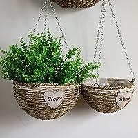 LANYUER Wall Hanging Natural Wicker Flower Basket Flower Pot Planter Rattan Vase Basket Home Garden Wall Decoration M/L (L)