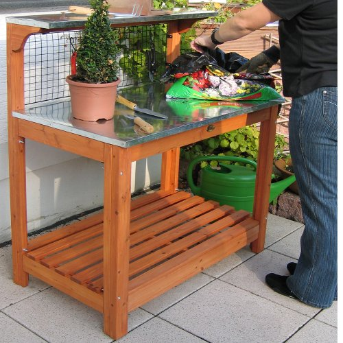 Habau 695 Gartentisch mit verzinkter Arbeitsplatte, 101 x 55 x 117 cm