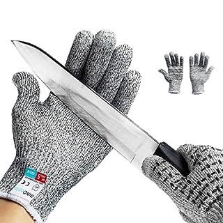 Gants Anti coupures,InnoBeta Gants de Travail, Antidérapant Écran Tactile Gants de Protection,Haute Performance Niveau de Protection 5 Anti-Coupure,Parfaits pour Réparer,Aiguiser Les Couteaux (L)