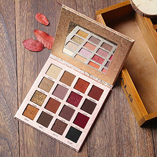 LINGYU Eyeshadow Palette Shimmer & Matte Highly Pigmented Waterproof 16Colors with Mirror