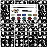 Glitter Tattoo Kit - Boys Super Hero 96 Stencils 3 Brushes 8 Glitter 100 Gems Waterproof Adhesive (Complete Kit 3.)