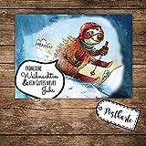 A6 Weihnachtskarte Postkarte Weihnachten Print mit Faultier und Spruch Allerfröhlichste Weihnachten pk118 ilka parey wandtattoo-welt®