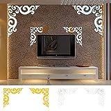 HEsdzML 2 Teile/satz Ecke Reben Spiegel Wandkunst Aufkleber Decals TV Hintergrund Wohnkultur - Goldene 60 cm x 60 cm