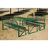 Böco Sitzgarnitur aus Stahl - Bank, Tisch - tannengrün - Bank Gartenbank Holzbank Parkbank Ruhebank Sitzbank Sitzbankgruppe Sitzgarnitur