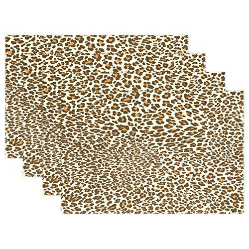 et mit Leopardenmuster, 30,5 x 45,7 cm, Polyester, Tischset für Küche und Esszimmer, 6 Stück ()
