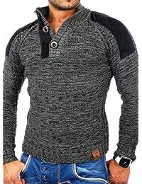 Tazzio tz-3570hommes de patch Pull d'hiver en tricot épais