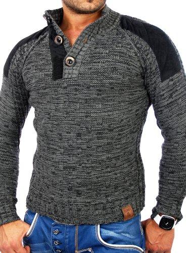 Tazzio tz-3570hommes de patch Pull d'hiver en tricot épais Gris - Anthracite