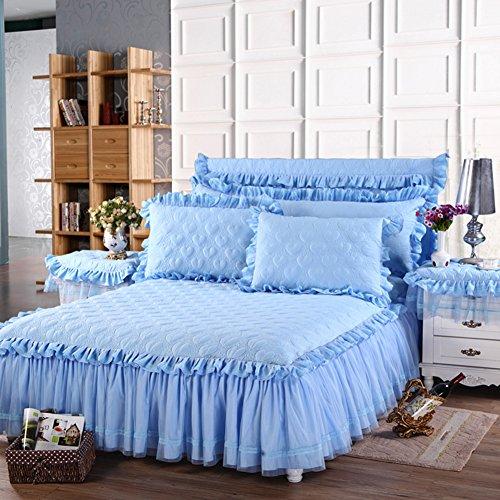 Bettrock Tagesdecke Bett sets Protector Koreanische version Volltonfarbe Gesteppt Verdicken sie Halten sie warm Spitze-D 150x200cm(59x79inch)Version B (Bett Frame-set)
