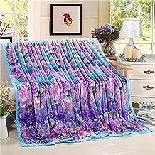 shinemoon tutte le stagioni floreale viola blu colori misti termica in pile corallo Bedding Coperte e fogli per adulti e bambini giardino divano, - Luxury Pet Blanket